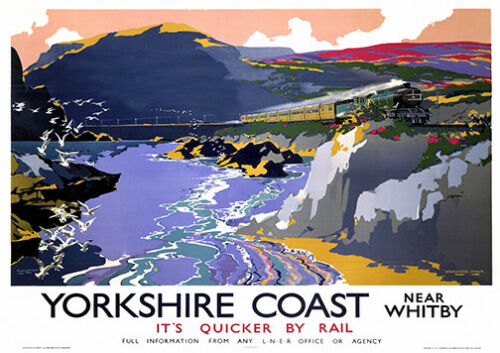 Yorkshire Coast Old Railway travel  advert poster reproduction.