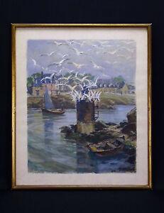 henri-Miloch-1898-1979-Bretagne-Grosse-Gouache-Marine-Finistere-Frankreich