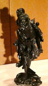 ANTIQUE-19C-CHINESE-IRONWOOD-HAND-CARVED-IMMORTAL-WITH-PITCH-STATUE-SIGNED-1