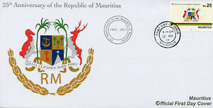 Mauritius-2017-FDC-Republic-25th-Anniv-Coat-of-Arms-Emblems-1v-Set-Cover-Stamps