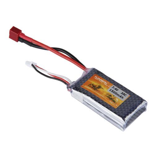 FLOUREON 1500mAh 7.4V 35C 2S LiPo Battery Pack T Plug for RC Car Truck Hobby US