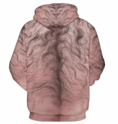 New Hairy Chest 3D Print Men/'s//Women/'s Sweatshirt Hoodie Pullover tops Jumper