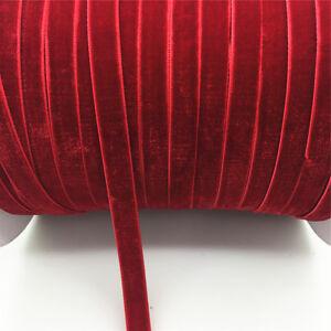 New-DIY-5-yards-3-8-034-10mm-Velvet-Ribbon-Headband-Clips-Bow-Decoration-NO27