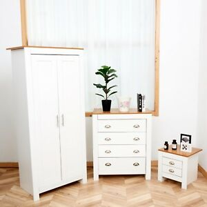 SPARE-REPAIR-3-Piece-Bedroom-Furniture-Set-Wardrobe-Bedside-Table-Chest-White