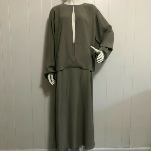 Eileen Fisher Grey Two Piece Skirt Suit Set 100% S