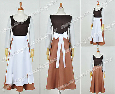 Cinderella Cosplay Princess Gray Girl Costume Maid Dress White Apron Whole Set