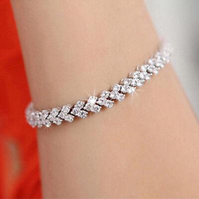Elegant Austrian Crystal Clear Bracelet Heart Shaped Jewelry Chain Bangle Silver
