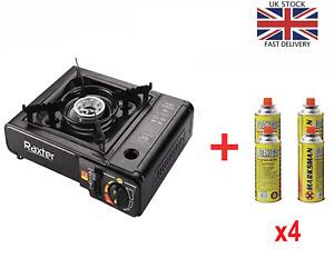 Portable Gas Stove Cooker Burner Camping Garden 4 Butane Refills