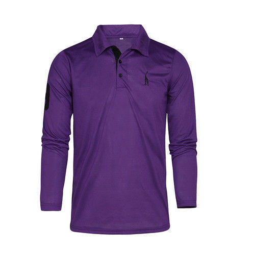 UK Mens Long Sleeve Classic Button Polo Shirts Slim Fit Tops Work T-Shirt Tee