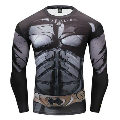 Men 3D Compression Shirt Superman Long Sleeve Tee Sport Tops Tights Cycling Gym