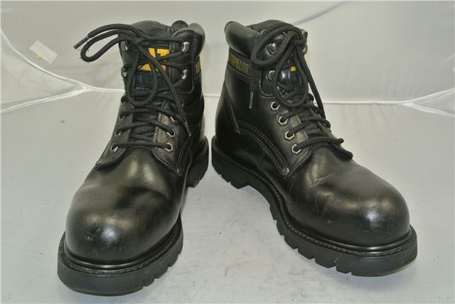 CATERPILLAR BLACK LEATHER ANKLE Stiefel SIZE (UK SIZE Stiefel 7) STEEL TOE CAP WALKING MACHINES c455b0