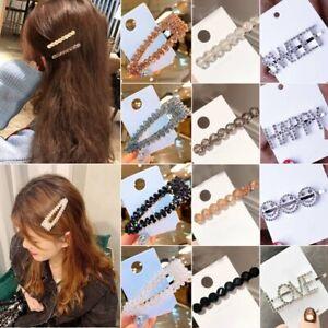 New-Women-Crystal-Rhinestone-Word-Snap-Hairpin-Hair-Barrette-Hair-Clip-Headwear