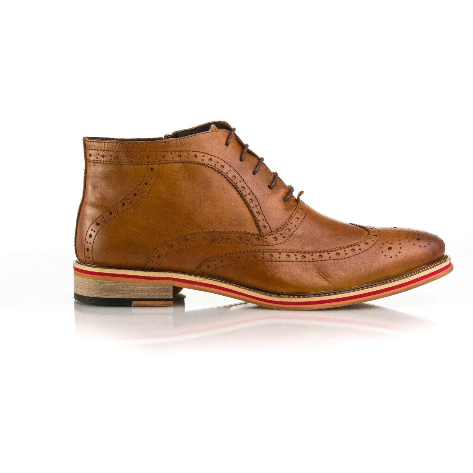 Mens Leather Tan Brogue Stiefel schuhe all Größes UK 6 7 8 9 10 11 12