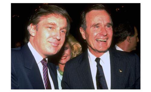 George H W Bush with Donald Trump PHOTO US President White House Pic Art Print