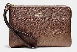 a7ae081ff430 Image is loading Coach-Corner-Zip-Wristlet-In-Crossgrain-Leather-Saddle-
