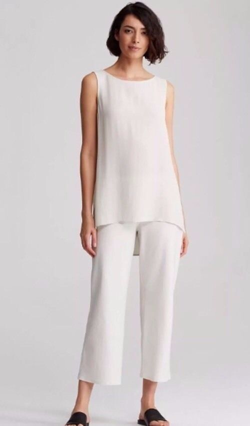Eileen Fisher Bone Washable Stretch Crepe Straight Cropped Pant 3X  168 NWT