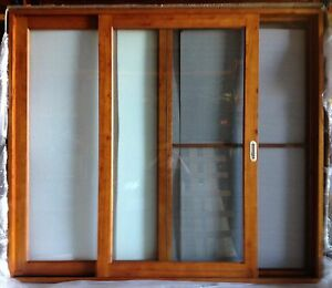 SOLID-CEDAR-TIMBER-SLIDING-DOORS-WITH-FLY-SCREEN-2410W-X-2100H
