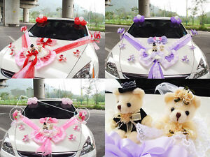 New wedding car decoration series cute bear kit with doll 3 color ebay image is loading new wedding car decoration series cute bear kit junglespirit Choice Image