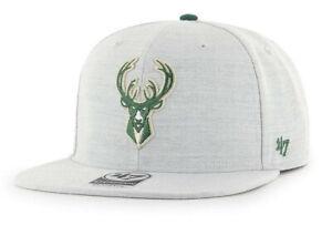 MILWAUKEE BUCKS NBA FLAT BILL SNAPBACK BORELAND HEATHER CAP HAT NEW! '47 BRAND