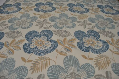 blue white grey beige floral flat weave upholstery fabric LIMITED STOCK