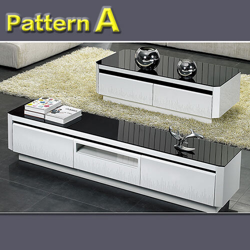 High Gloss Black White Led Lcd Tv Unit Stand Coffee Table Drawer