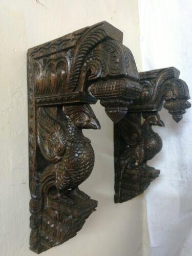 Bird Sculpted Wooden Bracket Corbel Pair Vintage Peacock Statue Ornament Unique