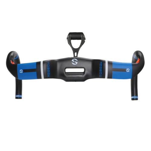 Toseek Blue Carbon Fiber AERO Uplift Style Drop Handlebar With Mount For Racing