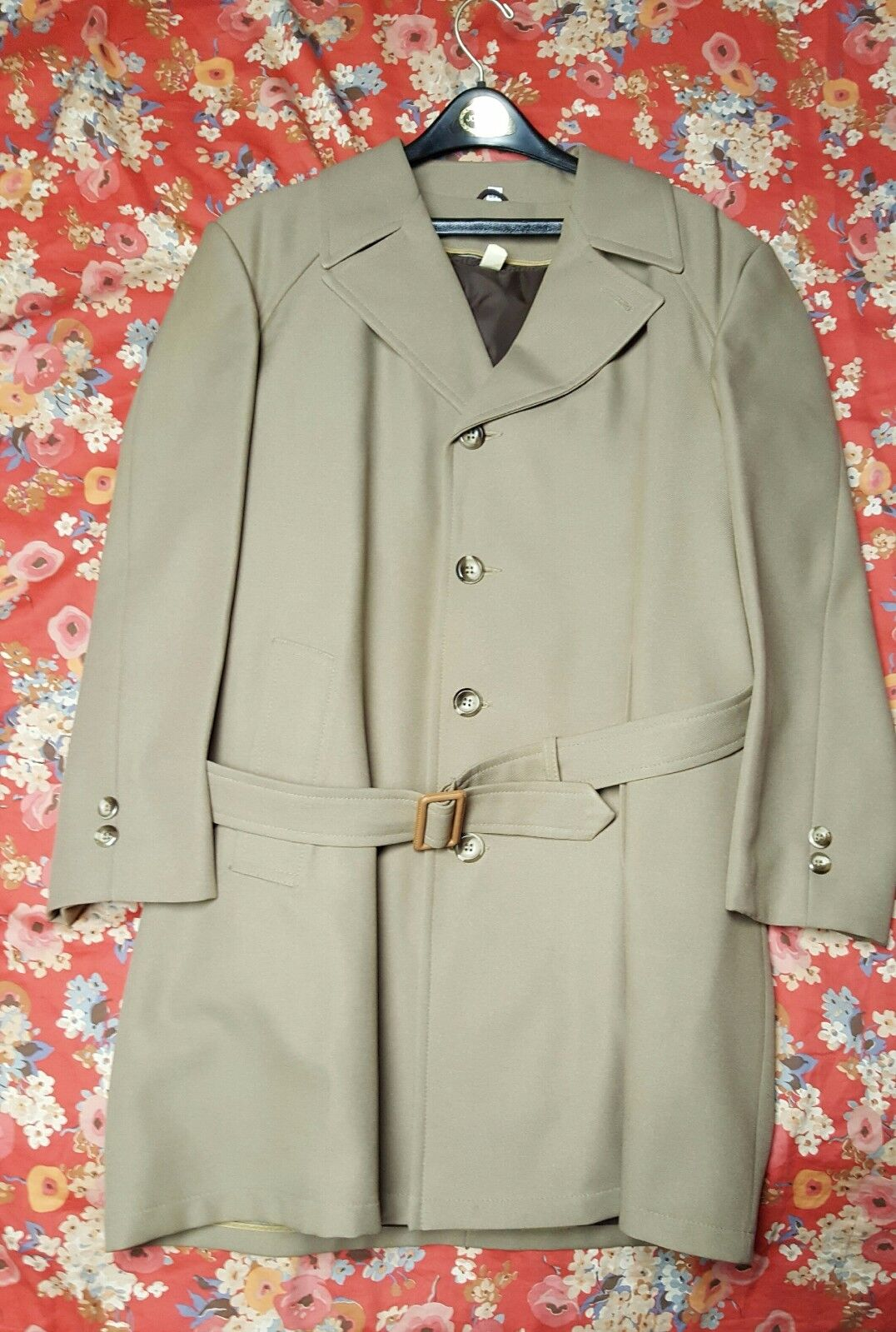Vintage J.C. Pennys Mens Top Coat Dress Trench Coat Lined with Belt New   Lables