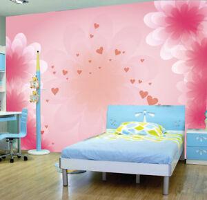 Pink Heart Girl Kids Flower Photo Wallpaper Wall Mural Home Bedroom