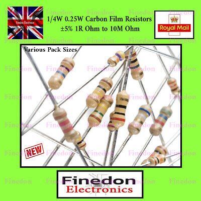 Pack of 50 0.25W Carbon Film Resistor 10M