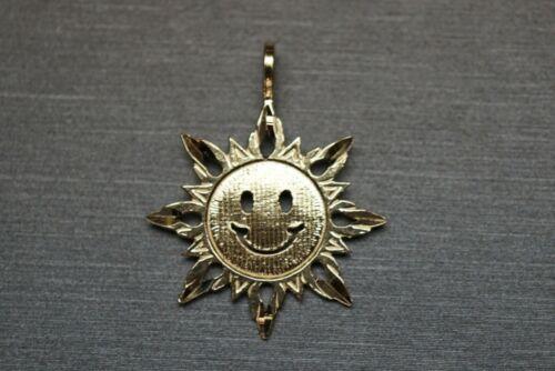 "14K Solide Or Jaune Diamant Coupe Plat 1/"" Sourire Happy Sun Charm pendentif."