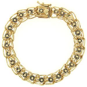 Vintage-14k-or-Jaune-Ouvert-Cable-Email-Noir-Marguerite-Lien-Chaine-Bracelet