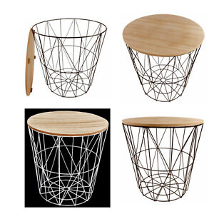Side End Table Metal Wire Wood Round Geometric Storage