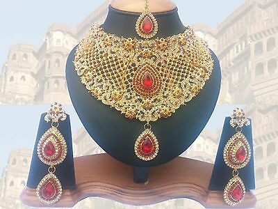 ANUSHKA 'S BOLLYWOOD ROYAL GOLD PLATED BRIDAL & PARTYWEAR KUNDAN NECKLACE SET