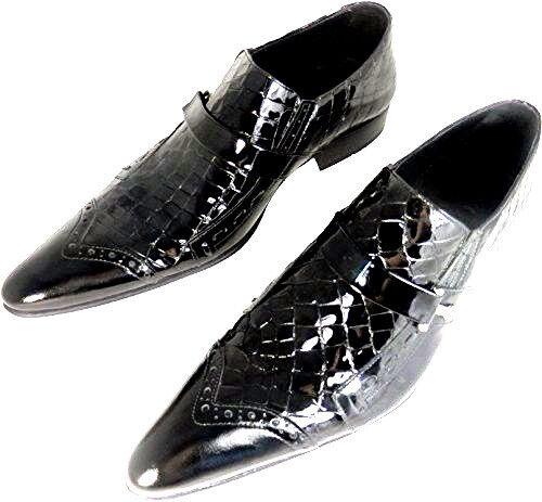 Designer Kroko Lack Chelsy Italienischer Leder Schuh Budapester Original Slipper AUTwq