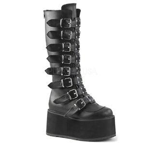 Demonia-Gothic-Punk-Rock-Metal-Platform-Buckled-Strap-Knee-High-Boots