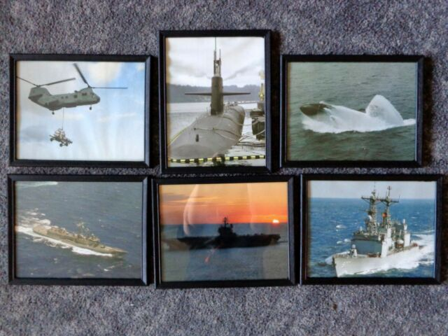 USA Military NAVY PHOTOS Lot of 6 Ships Submarine Helicopter 8x10 Black Frames