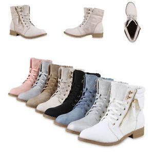 Damen Stiefeletten Boots Schnürstiefel Spitze Used Look 815631 Schuhe
