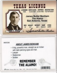 James Butler Bonham The Alamo San Antonio Texas Drivers