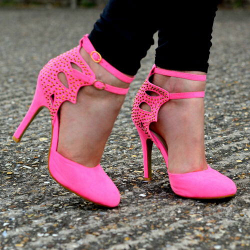Ladies Suede Ankle strap Sandals Round toe Shoes High Heels Party Size    S30368