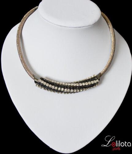 Luxus Statement Kette Lolilota Paris Halskette Collier Netz Metall Strass