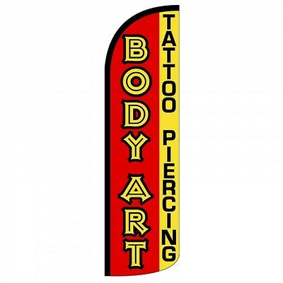 Tattoo Piercing Advertising Feather Flutter Swooper 3 Ft Banner Flag /& Pole Only