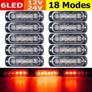 10pcs-Red-6LED-Car-Truck-Emergency-Beacon-Warning-Hazard-Flash-Strobe-Light-Red
