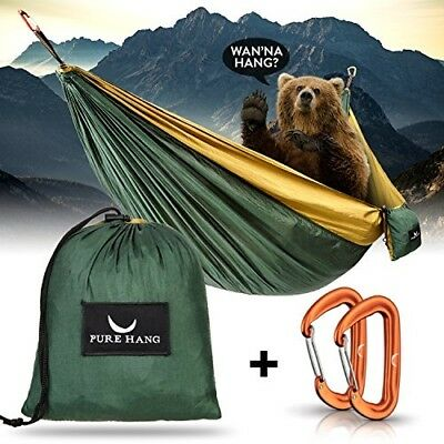 ULG Nylon Hammock Double Camping Hammock with Tree Straps Steel Carabiners Lightweight Portable Hammocks for Outdoor Camping Traveling Hiking Backpacking Beach Yard