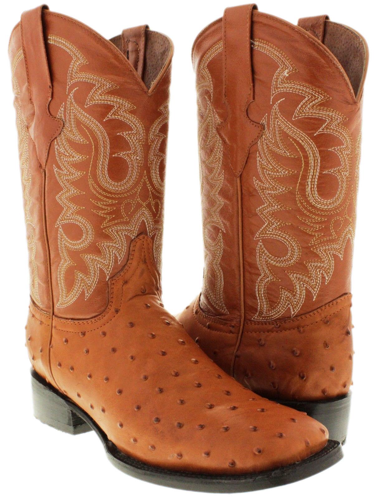 Para hombres Cuero De Avestruz Pluma Coñac Diseño botas De Vaquero Puntera Cuadrada Oeste Rodeo