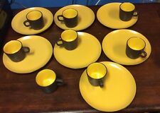 Vintage Set Jonas Roberts Terra Stone 7126 Curry Colored Luncheon Plate w/ Cup
