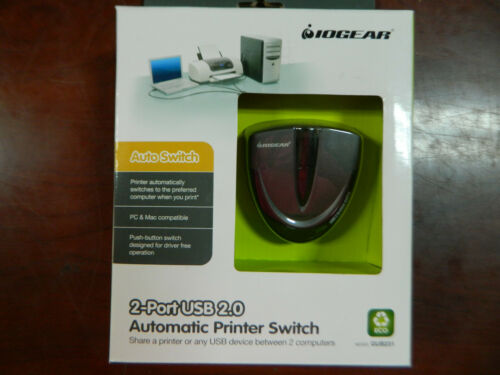 IOGEAR 2-Port USB 2.0 Automatic Printer Switch New GUB231