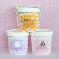50 Personalized Vintage Love Ice Cream Candy Container Bridal Wedding Favor