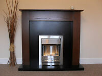Electric Walnut Silver Black Granite Stone Marble Modern Fire Fireplace Suite 48