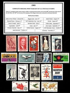1965-COMPLETE-YEAR-SET-OF-MINT-NEVER-HINGED-MNH-VINTAGE-U-S-POSTAGE-STAMPS
